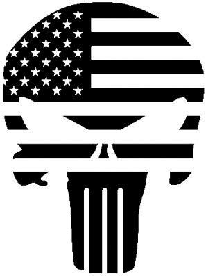 punisher skull with us flag horizontal car or truck window