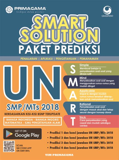 Cara Cerdas Lulus Un Usbn Smp 2018 primagama smart solution paket prediksi un smp mts 2018 book by tim primagama gramedia digital