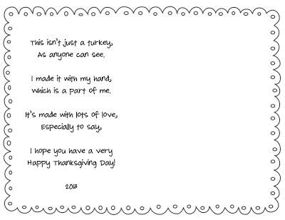 printable turkey handprint poem free turkey handprint placemat template so cute free