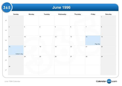 August 1996 Calendar June 1996 Calendar