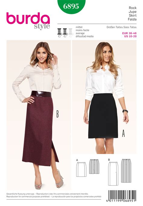 skirt pattern burda burda 6895 skirts