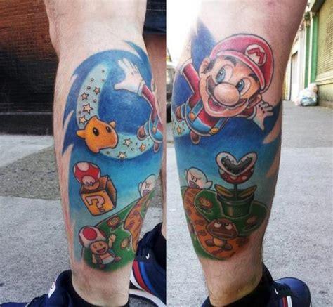 tatuagem fantasia panturrilha super mario por spilled ink