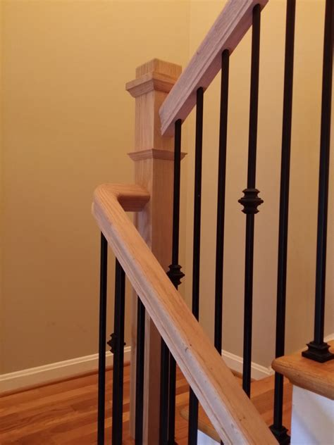 stair railings with wrought iron balusters mitre