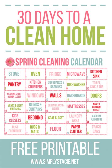spring cleaning how to clean your house from top to 30 day spring cleaning calendar simply stacie