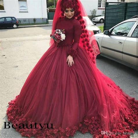 Dress Arabic Bordir Maroon 3d flower burgundy muslim wedding dresses 2018 arabic custom plus size islamic gown