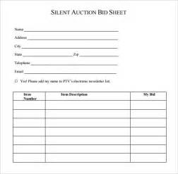 sealed bid form template silent auction bid sheet template 9 free