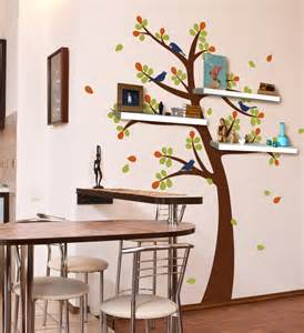 tree decal with shelves shelving tree decal with birds contemporary wall