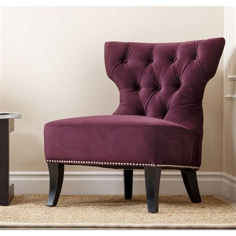 purple living room chair grey walls purple accent chair and photo collage love it