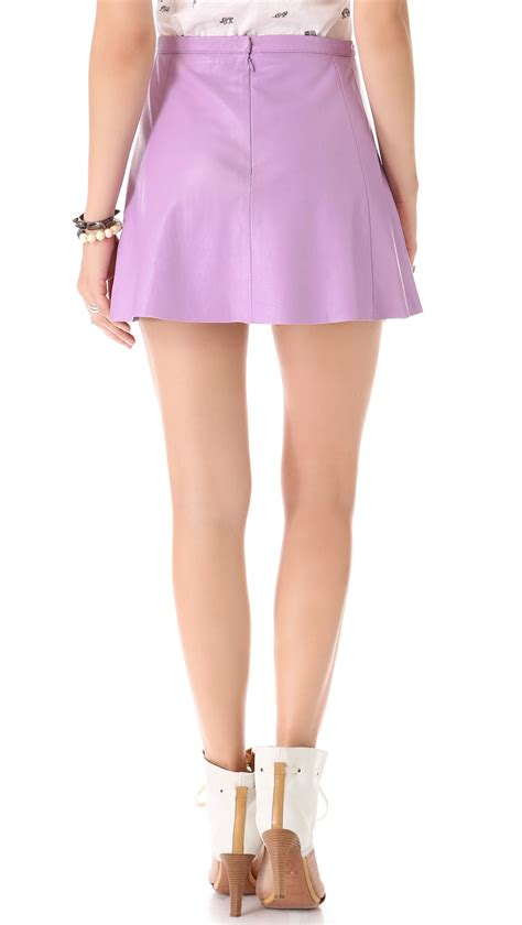 Pop Skirt leather lilac pop leather miniskirt in purple lyst