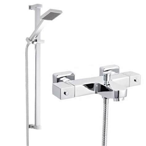 wall mounted thermostatic bath shower mixer ultra wall mounted square thermostatic bath shower mixer valve w rectangular slide rail kit at
