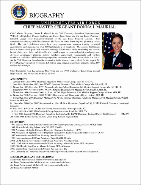 military biography format sle air force biography template military bio sle