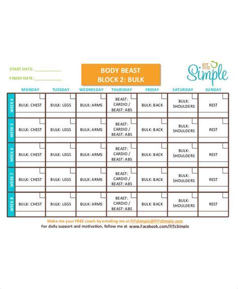 beast workout sheet beast workout sheet sle 7 exles in word pdf