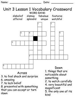 printable crossword puzzle for 3rd graders third grade mcgraw hill wonders puzzles unit 3 puzzles