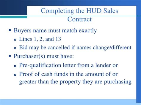 Proof Of Qualification Letter Selling Hud Reo S