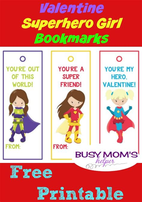 printable bookmarks superheroes superhero girl bookmarks for valentine s day busy moms