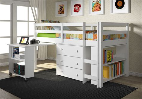 bunk bed with a desk white loft bed with pull out desk and chest of drawer also