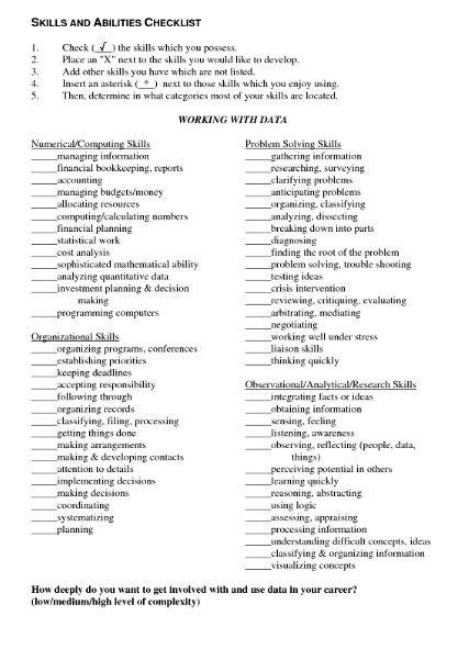 resume skills and abilities list knowledge skills and abilities