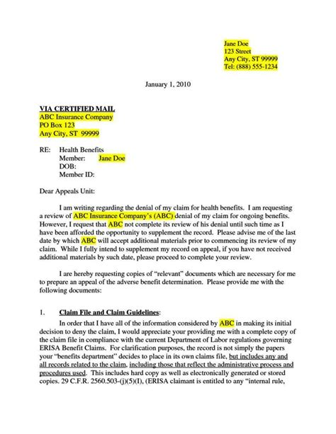 insurance appeal letter template appeal letter for insurance claim sletemplatess