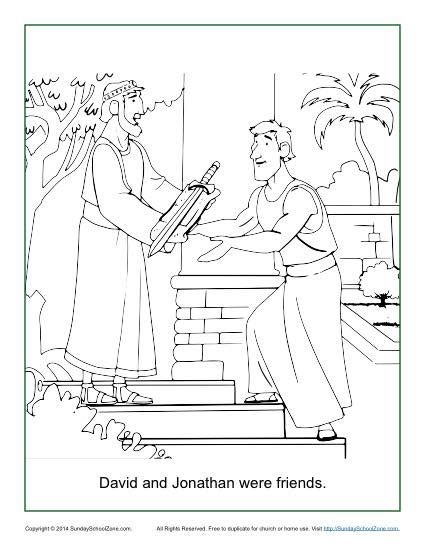 david and jonathan crafts for david and jonathan were friends coloring page children s