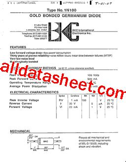 germanium diode aa112 1n100 datasheet pdf list of unclassifed manufacturers
