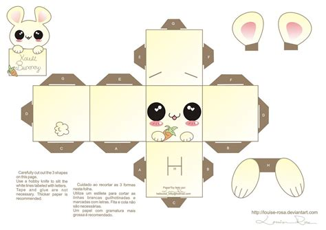Paper Crafts Printable - la casita de caro conejito kawaii papercraft 2