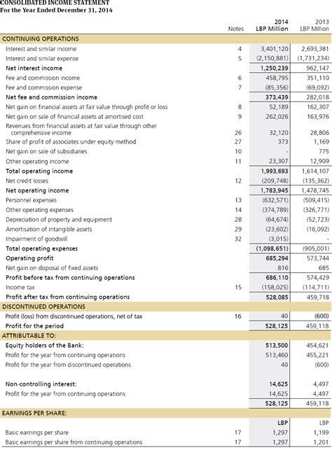 consolidated financial statement template notes to consolidated financial statements annual report