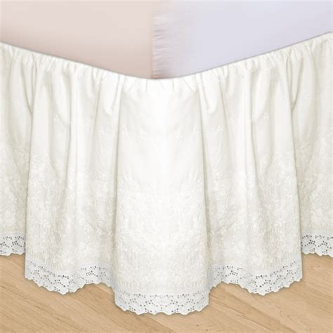 bed ruffles embroidered 3 piece adjustable bed skirt walmart com