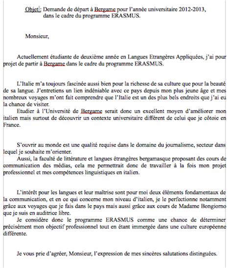Exemple De Lettre De Motivation Erasmus Modele Lettre De Motivation Italien Document