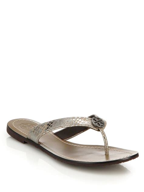 burch silver sandals burch thora metallic leather sandals in silver