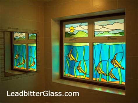 stained glass patterns for bathroom windows ocean scene bathroom window luton
