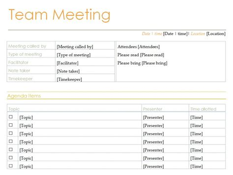 Team Meeting Agenda Template Free team meeting agenda team meeting agenda template