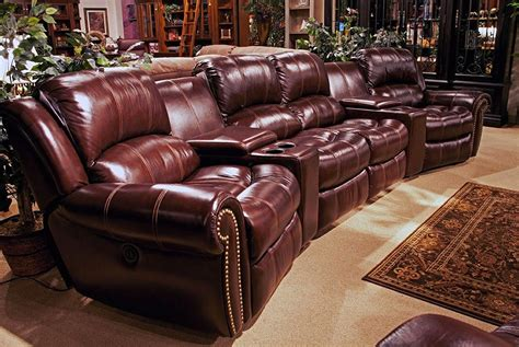 theatre leather sofa recliner living poseidon cocoa brown leather theater style