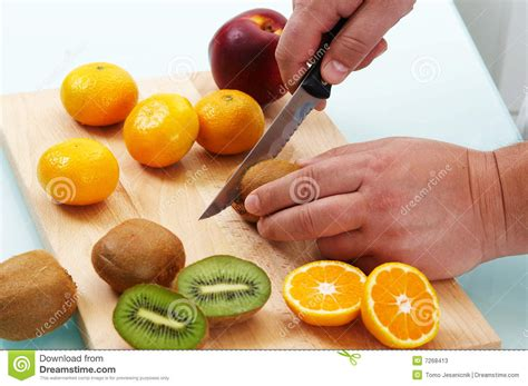 English Kitchen Design by Cutting Different Fruits Stock Photos Image 7268413