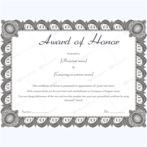 of honor card template award of honor certificate sle award awardtemplate