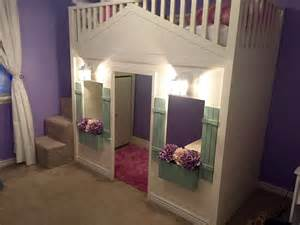 white cottage loft bed playhouse with stairs lights