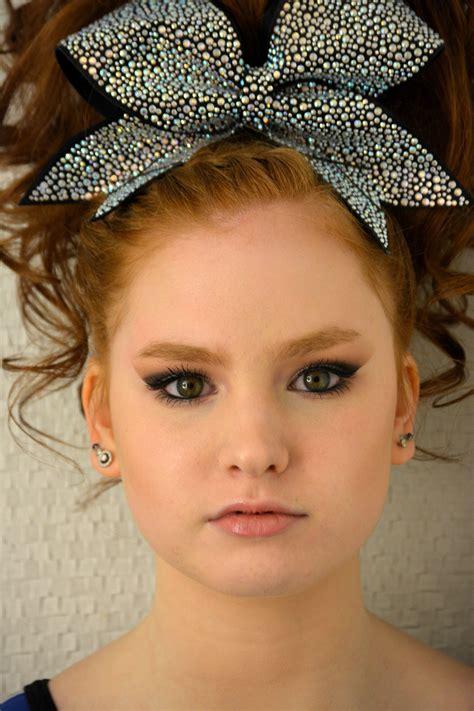 cheer hair  makeup teased hair  smokey eye