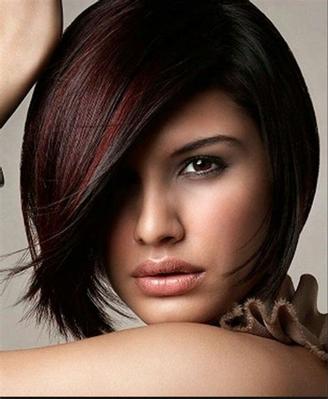 haircolor styles withn burgundy accents black a line bob with burgundy accents