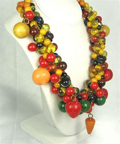 how to make bakelite jewelry hattie carnegie vintage chunky bakelite fruit necklace
