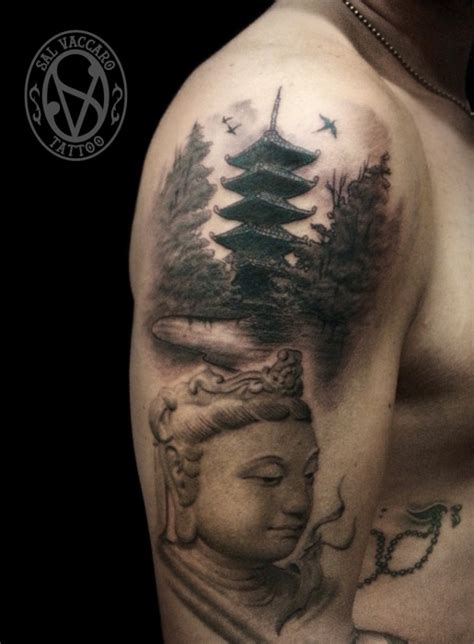 japanese temple tattoo asian themed black and white shoulder of buddha