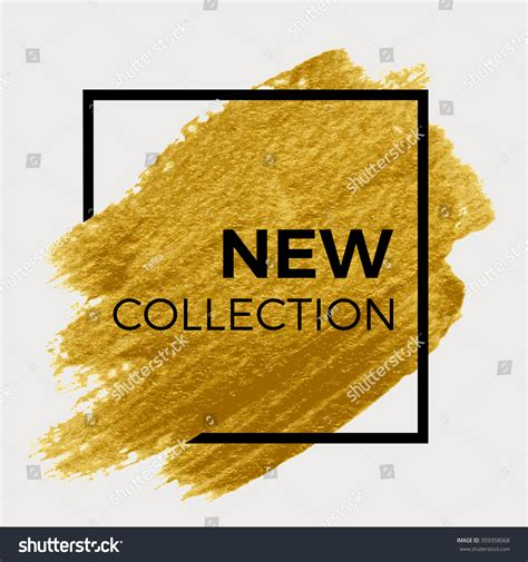 new gold on the design collection new collection gold paint black square stock vector