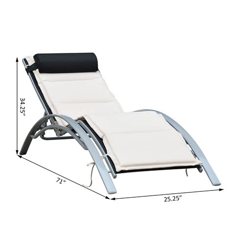 outdoor reclining chaise lounge outsunny patio reclining chaise lounge chair with cushion