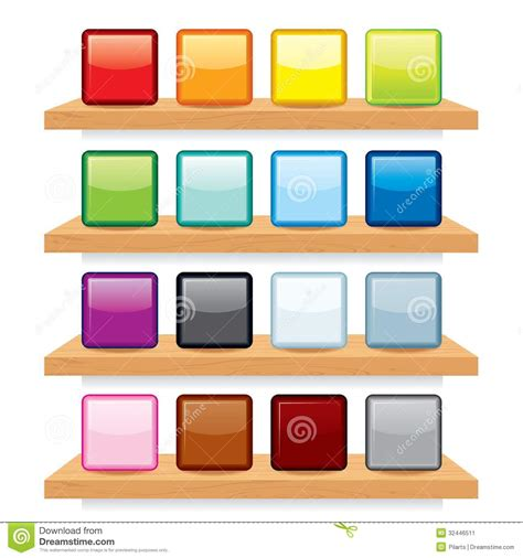 icon design display icon on wood shelf display vector template design stock