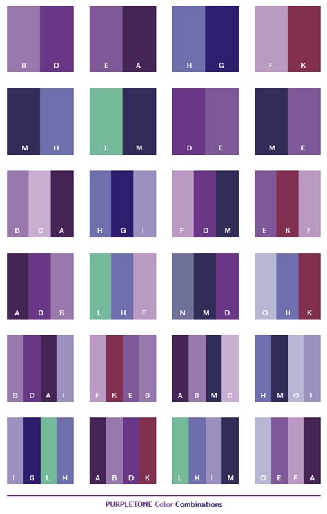 purple tone color schemes color combinations color palettes for print cmyk and web rgb html