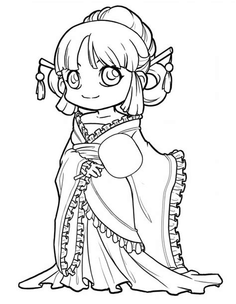 chibi princess coloring pages cute princess chibi drawing coloring page