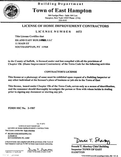 town of east hton license of home improvement