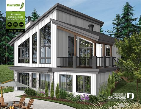 chalet home plans 2018 plan de chalet moderne avec grand balcon foyer dessins drummond