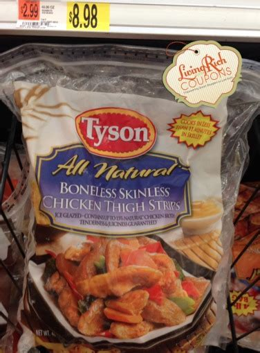 tyson coupon   tyson frozen boneless skinless breast strips  thigh stripsliving rich