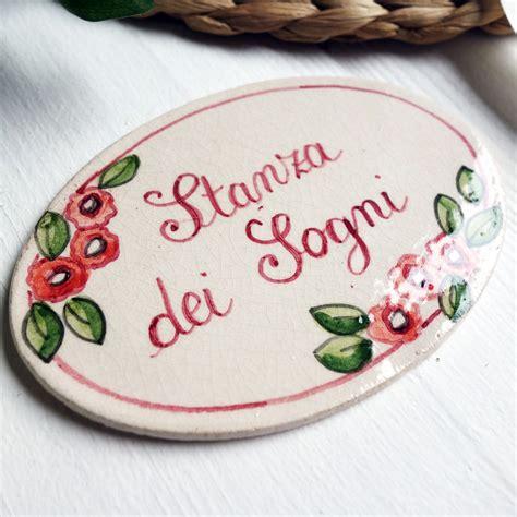 targhetta porta targhetta per porte con decoro fiorellini rosa olalla