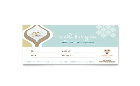 wedding store supplies gift certificate template design