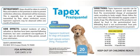 how much to deworm a puppy 20 capsules tapex tapeworm for dogs and puppies like droncit tradewinds dewormer ebay